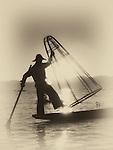 Leg rowing fisherman with net, Lake Inle, NE Burma