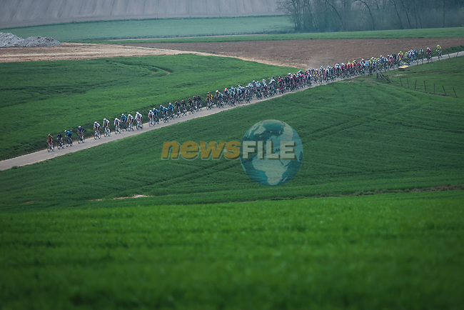 The peloton during the 2021 Flèche-Wallonne, running 193.6km from Charleroi to Huy, Belgium. 21st April 2021.  <br /> Picture: A.S.O./Aurélien Vialatte   Cyclefile<br /> <br /> All photos usage must carry mandatory copyright credit (© Cyclefile   A.S.O./Aurélien Vialatte)