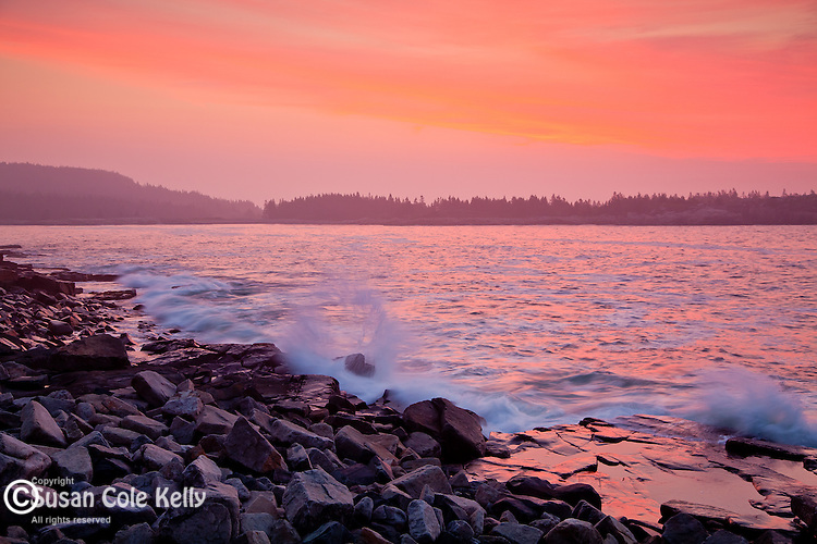 Red sky and storm waves, Schoodic Point in Acadia National Park, Downeast, ME, USA