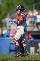 Brooklyn Cyclones catcher Adrian Abreu (2) during a game against the Batavia Muckdogs on August 9, 2014 at Dwyer Stadium in Batavia, New York.  Batavia defeated Brooklyn 4-2.  (Mike Janes/Four Seam Images)
