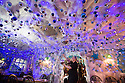 """30/11/15<br /> <br /> Manageress, Lisa Pearson, 27, puts up the final baubles in the 'Indoor Igloo'.<br /> <br /> It has taken a team of five, two weeks to put up this stunning display of Christmas decorations in what is believed to be one of Britain's most festive pubs. The race was on to put up the 7,500 baubles and 27,000 fairy lights, before guests arrived for the pub's first Christmas parties held last night . <br /> <br /> Each of the five rooms at the Hanging Gate at Chapel-en-le-Frith in the Derbyshire Peak District has a different theme or colour. This year the main restaurant is the Indoor Igloo, the bar area is purple and gold and there's the Candy Cain room upstairs in the pub near Buxton. There's also has another 10,000 lights on the outside of the building. <br /> <br /> """"We've had to replace a few thousand of the LED lights this year, I buy them in huge lengths so it's cost lots  to get everything ready"""" said landlord Mark Thomas.<br /> <br /> All Rights Reserved: F Stop Press Ltd. +44(0)1335 418365   www.fstoppress.com."""