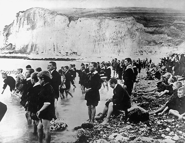 An American Red Cross outing center on the coast near Dieppe, Belgium, where Belgian school children are able to spend the few happy moments they know.  Ca.  1917-18.  IFS. (War Dept.) <br /> Exact Date Shot Unknown<br /> NARA FILE #:  165-WW-179C-11<br /> WAR & CONFLICT BOOK #:  679