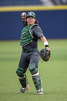 Michigan State Spartans catcher Nic Lacayo (27) warms up before the NCAA baseball game against the Michigan Wolverines on May 7, 2019 at Ray Fisher Stadium in Ann Arbor, Michigan. Michigan defeated Michigan State 7-0. (Andrew Woolley/Four Seam Images)