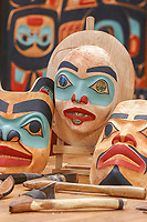 Tlingit Masks carved by native artist Tommy Joseph, Sitka National Historic Park in Sitka, Alaska
