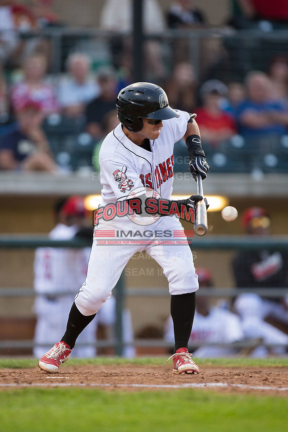 Alejo Lopez (5) of the Billings Mustangs lays down a bunt against the Missoula Osprey at Dehler Park on August 21, 2017 in Billings, Montana.  The Osprey defeated the Mustangs 10-4.  (Brian Westerholt/Four Seam Images)