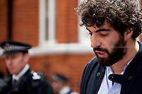 Romain Gavras (Greek-French director) reads John Pilger message. <br /> <br /> London, 19/08/2012. Today, Julian Assange made his first speech after two months (19th June 2012) he has been living as a refugee in the Ecuadorian Embassy in London. On Thursday he was granted Diplomatic Asylum by the President of Ecuador, Rafael Correa. Previously, Baltasar Garzón (former Spanish Judge, now head of Assange legal team), Tariq Ali, Craig Murrey and others had made speeches in support and solidarity with the Australian Journalist founder of Wikileaks.