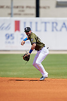 Biloxi Shuckers second baseman Nick Franklin (4) throws to first base during a game against the Jacksonville Jumbo Shrimp on May 6, 2018 at MGM Park in Biloxi, Mississippi.  Biloxi defeated Jacksonville 6-5.  (Mike Janes/Four Seam Images)