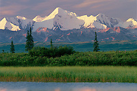 Tundra pond reflects Mount Mather<br />  from Wonder Lake Road<br /> Denali National Park<br /> Alaskan Range,  Alaska