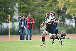 """DARMSTADT, GERMANY - SEPTEMBER 15: Regionalliga Hessen rugby match between TG 1875 Darmstadt (light blue) and URC Gießen 01 (dark blue) at the TG 1875 Darmstadt sports ground """"Am Ziegelbusch"""" on September 15, 2012 in Darmstadt, Germany. (Photo by Dirk Markgraf)"""
