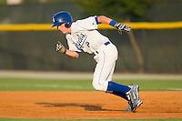 Alex McClure #2 of the Burlington Royals takes off for second base against the Greeneville Astros at Burlington Athletic Stadium June22, 2010, in Burlington, North Carolina.  Photo by Brian Westerholt / Four Seam Images
