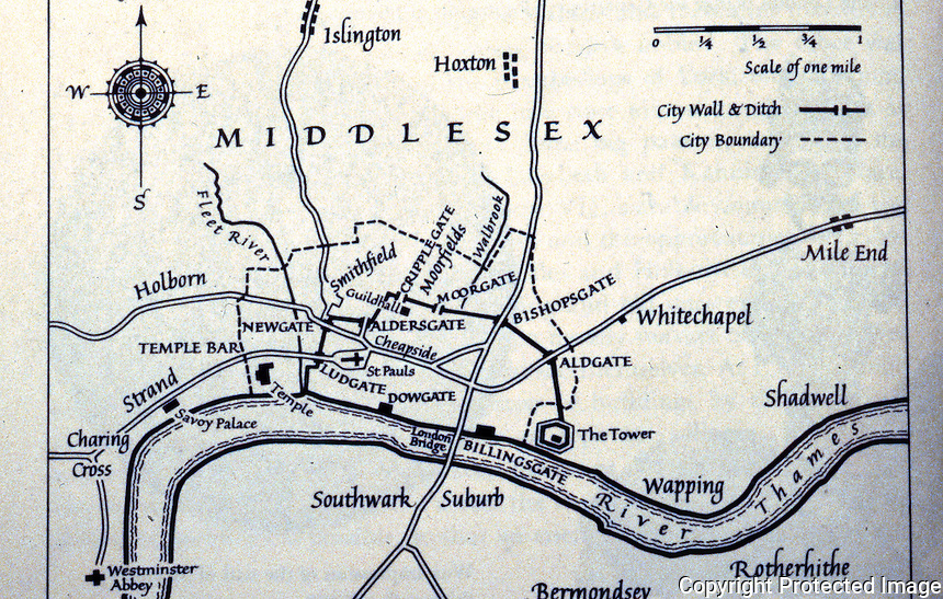 London: Map, London in the 15th Century. Christopher Hibbert, LONDON: THE BIOGRAPHY OF A CITY, 1969.   Reference only.