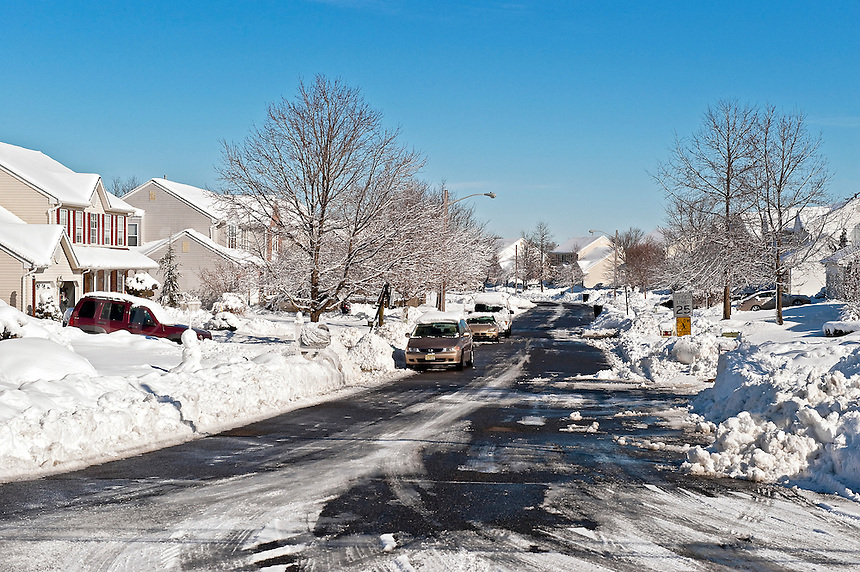 Snow bound suburban housing development.