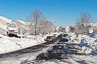 Snow bound suburban housing development.