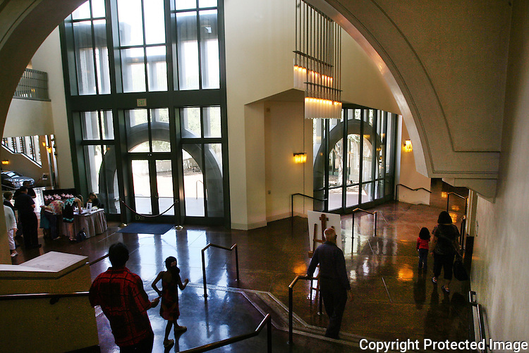 People walking from the concert hall to the front door through a grand hallway at the California Center for the Arts in Escondido, California, in 2012.  photo for the North County TImes