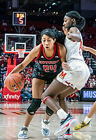 COLLEGE PARK, MD - FEBRUARY 9: Arella Guirantes #24 of Rutgers pushes into Diamond Miller #14 of Maryland during a game between Rutgers and Maryland at Xfinity Center on February 9, 2020 in College Park, Maryland.