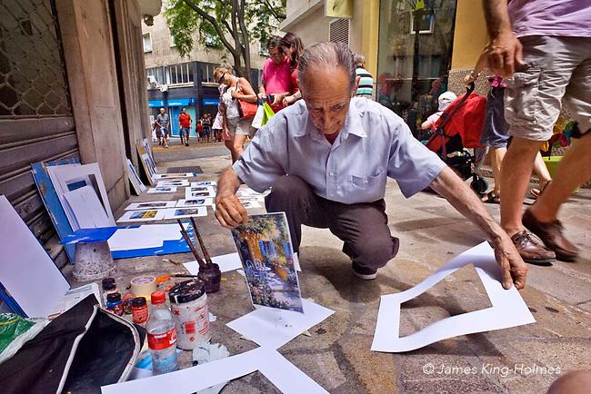 Street artist in central Palma de Mallorca in the Balearic Islands