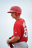GCL Phillies center fielder Mickey Moniak (15) on first after a base hit during a game against the GCL Pirates on August 6, 2016 at Pirate City in Bradenton, Florida.  GCL Phillies defeated the GCL Pirates 4-1.  (Mike Janes/Four Seam Images)