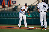 Lakeland Flying Tigers first baseman Reynaldo Rivera (35) during a Florida State League game against the Palm Beach Cardinals on April 17, 2019 at Publix Field at Joker Marchant Stadium in Lakeland, Florida.  Lakeland defeated Palm Beach 1-0.  (Mike Janes/Four Seam Images)