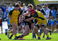 Jack Sexton is tackled during the rugby union match between New Zealand Schools and Australia Under-18s at St Paul's Collegiate in Hamilton, New Zealand on Friday, 4 October 2019. Photo: Dave Lintott / lintottphoto.co.nz
