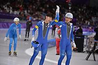 OLYMPIC GAMES: PYEONGCHANG: 24-02-2018, Gangneung Oval, Long Track, Mass Start Men, Chung Jaewon (KOR) and Olympic champion Lee Seung-Hoon (KOR), ©photo Martin de Jong