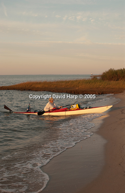 Tom Horton and Don Baugh paddle through the serpentine marsh guts of the Glenn L. Martin Wildlife Refuge on the northern end of Smith Island, MD.