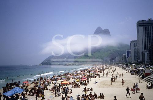 Rio de Janeiro, Brazil. Ipanema and Leblon beaches with the Dois Irmaos (Two Brothers) mountain.