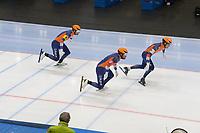 SPEEDSKATING: 22-11-2019 Tomaszów Mazowiecki (POL), ISU World Cup Arena Lodowa, Team Sprint Men (NED), Thomas Krol, Kjeld Nuis, Ronald Mulder, ©photo Martin de Jong