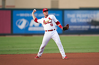 Palm Beach Cardinals third baseman Nolan Gorman (18) throws to first base during a Florida State League game against the Clearwater Threshers on August 9, 2019 at Roger Dean Chevrolet Stadium in Jupiter, Florida.  Palm Beach defeated Clearwater 3-0 in the second game of a doubleheader.  (Mike Janes/Four Seam Images)