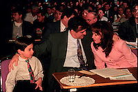Montreal (Qc) CANADA - 1995 File Photo - April 1995 - Bloc Quebecois convention, Lucien Bouchard, son and wife Audrey Best