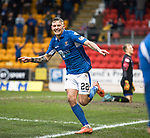 St Johnstone v Livingston…..07.03.20   McDiarmid Park  SPFL<br />Callum Hendry celebrates his goal<br />Picture by Graeme Hart.<br />Copyright Perthshire Picture Agency<br />Tel: 01738 623350  Mobile: 07990 594431