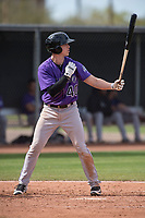 Colorado Rockies catcher Brian Serven (40) during a Minor League Spring Training game against the Los Angeles Angels at Tempe Diablo Stadium Complex on March 18, 2018 in Tempe, Arizona. (Zachary Lucy/Four Seam Images)