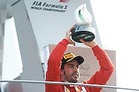 FERRARI SPANISH DRIVER FERNANDO ALONSO ON PODIUM AFTER FINISHING THIRD .Monza 9/9/2012 .Formula 1.Foto Insidefoto / Bernard Asset / Panoramic .Italy Only