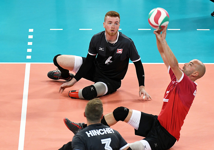 Mikael Bartholdy and Bryce Foster, Lima 2019 - Sitting Volleyball // Volleyball assis.<br /> Canada competes in men's Sitting Volleyball // Canada participe au volleyball assis masculin. 24/08/2019.