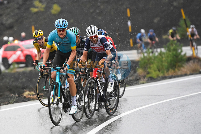 The lead chase group including Jakob Fuglsang (DEN) Astana, Rafal Majka (POL) Bora-Hansgrohe, Domenico Pozzovivo (ITA) NTT, Steven Kruijswijk (NED) Jumbo-Visma and Vincenzo Nibali (ITA) Trek-Segafredo during Stage 3 of the 103rd edition of the Giro d'Italia 2020 running 150km from Enna to Etna (Linguaglossa-Piano Provenzana), Sicily, Italy. 5th October 2020.  <br /> Picture: LaPresse/Fabio Ferrari | Cyclefile<br /> <br /> All photos usage must carry mandatory copyright credit (© Cyclefile | LaPresse/Fabio Ferrari)