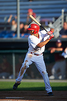 Auburn Doubledays center fielder Blake Perkins (7) at bat during a game against the Mahoning Valley Scrappers on July 17, 2016 at Falcon Park in Auburn, New York.  Mahoning Valley defeated Auburn 3-2.  (Mike Janes/Four Seam Images)