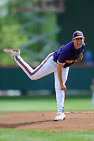 Starting Pitcher Dominic Leone #6 delivers a pitch during a  game against the Miami Hurricanes at Doug Kingsmore Stadium on March 31, 2012 in Clemson, South Carolina. The Tigers won the game 3-1. (Tony Farlow/Four Seam Images)..