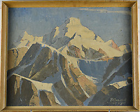 BNPS.co.uk (01202 558833)<br /> Pic: StroudAuctions/BNPS<br /> <br /> Pictured: Theodore Howard Somervell's mountain range in Tibet<br /> <br /> Fascinating art work by a British mountaineer who twice climbed Mount Everest have sold at auction a century later for over £30,000.<br /> <br /> Theodore Howard Somervell took part in pioneering expeditions to the Himalayas in 1922 and 1924.<br /> <br /> He got to within 1,000ft of the summit, the highest point reached at that time, despite not using an oxygen tank.<br /> <br /> The skilled artist produced dozens of watercolours and sketches of the scenes he witnessed, including glacial peaks and camp life.<br /> <br /> His works sparked a bidding war when they were sold by a direct descendant with Stroud Auctions, of Gloucs.  An oil on canvas painting of Everest base camp in 1922 sold for £7,500, almost 40 times its estimate.