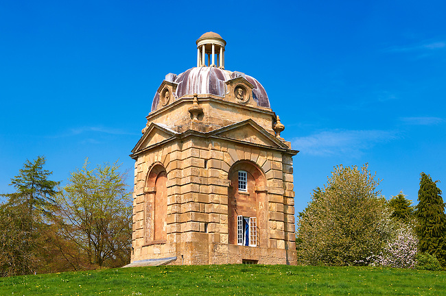 """The late Baroque """"Pepper Pots"""" at the west entrance to Stowe House, Buckingham, England"""