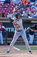 Quad Cities River Bandits infielder Anibal Sierra (36) at the plate during a Midwest League game against the Wisconsin Timber Rattlers on April 8, 2017 at Fox Cities Stadium in Appleton, Wisconsin.  Wisconsin defeated Quad Cities 3-2. (Brad Krause/Four Seam Images)