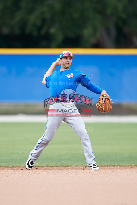 Toronto Blue Jays Danny Espinosa (25) during a Minor League Spring Training Intrasquad game on March 31, 2018 at Englebert Complex in Dunedin, Florida.  (Mike Janes/Four Seam Images)