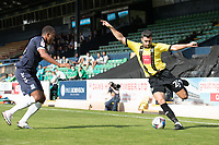 Connor Hall, Harrogate Town,  crosses under pressure from Shaun Hobson, Southend United, during Southend United vs Harrogate Town, Sky Bet EFL League 2 Football at Roots Hall on 12th September 2020