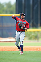 GCL Twins third baseman Roni Tapia (32) throws to first base during the first game of a doubleheader against the GCL Rays on July 18, 2017 at Charlotte Sports Park in Port Charlotte, Florida.  GCL Twins defeated the GCL Rays 11-5 in a continuation of a game that was suspended on July 17th at CenturyLink Sports Complex in Fort Myers, Florida due to inclement weather.  (Mike Janes/Four Seam Images)