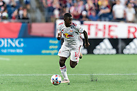 FOXBOROUGH, MA - JUNE 23: Dru Yearwood #16 of New York Red Bulls looks to pass during a game between New York Red Bulls and New England Revolution at Gillette Stadium on June 23, 2021 in Foxborough, Massachusetts.