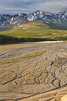 Braided river patterns on the East Fork of the Toklat river, Denali National Park, Interior, Alaska.