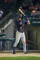 Ford Proctor (9) of the Bowling Green Hot Rods at bat against the Fort Wayne TinCaps at Parkview Field on August 20, 2019 in Fort Wayne, Indiana. The Hot Rods defeated the TinCaps 6-5. (Brian Westerholt/Four Seam Images)