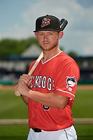 Batavia Muckdogs Dustin Skelton (6) poses for a photo before a NY-Penn League game against the State College Spikes on July 3, 2019 at Dwyer Stadium in Batavia, New York.  State College defeated Batavia 6-4.  (Mike Janes/Four Seam Images)