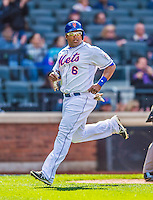 20 April 2013: New York Mets outfielder Marlon Byrd crosses the plate to score against the Washington Nationals at Citi Field in Flushing, NY. The Mets fell to the visiting Nationals 7-6, tying their 3-game weekend series at one a piece. Mandatory Credit: Ed Wolfstein Photo *** RAW (NEF) Image File Available ***