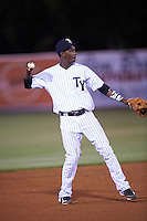 Tampa Yankees shortstop Jorge Mateo (14) warmup throw to first during a game against the Lakeland Flying Tigers on April 8, 2016 at George M. Steinbrenner Field in Tampa, Florida.  Tampa defeated Lakeland 7-1.  (Mike Janes/Four Seam Images)