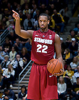 STANFORD, CA - January 29th, 2012: Jarrett Mann of Stanford calls a play during a basketball game against California at Haas Pavilion in Berkeley, California.   California won 69-59 against Stanford.