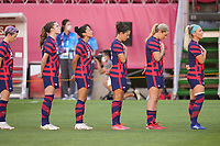 KASHIMA, JAPAN - AUGUST 5: USWNT startrs before a game between Australia and USWNT at Kashima Soccer Stadium on August 5, 2021 in Kashima, Japan.